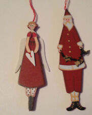 Nordic Santa and Angel Wooden Christmas Decorations Painted In Red and White
