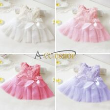 Newborn Kid Baby Girl Pretty Rose Flower Top Lace Dress Clothing Xmas Gift 0-24M