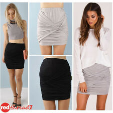 Black Grey Knot Detail Gathered Side Ruched Skirt Slim Fitted Jersey Mini Womens