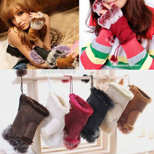 Womens Rabbit Fur Leather Fingerless Faux Suede Warm Winter Wrist Gloves Gift