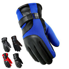 Men Winter Warm Lined Thick Motorcycle Driving Splice Leather Full Finger Gloves