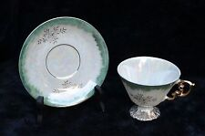 Marco-Pearlescent with Green Coloring & Gold Floral-Tea Cup & Saucer Set