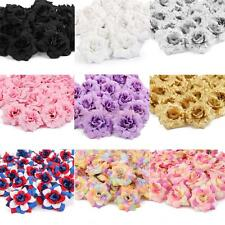 50 Silk Roses Artificial Bridal Clips Wedding Decoration Flower Heads 7 Colors