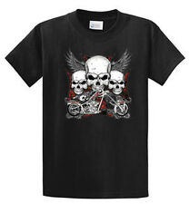 Biker Skulls Mens Printed Graphic Tee Shirt Reg to Big and Tall Size Port and Co