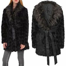 NEW LADIES BLACK FAUX FUR COLLAR JACKET WINTER LOOK LINED LONG WOMENS THICK COAT