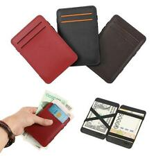 Unisex Mini Magic Bifold Wallet Leather Card Holder Purse Money Clip Wallet Gift