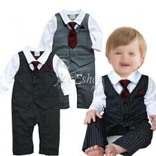 Newborn Baby Boy Formal Suit Gentleman Party Tuxedo Romper Outfit Clothing 3-24M