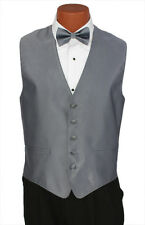 Medium Mens Pewter Herringbone Wedding Party Prom Fullback Tuxedo Vest Formal