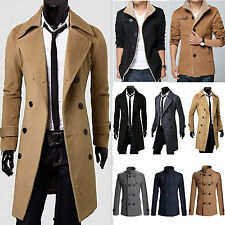 Mens Stylish Trench Coat Winter Double Breasted Long Jacket Overcoat Windbreaker