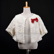 Ivory Faux Fur Wedding Party Flower Girl Shrug Bolero Jacket/Coat w 3/4 Sleeves