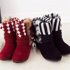 New Fashion Winter Warm Casual Mid-Calf Snow Boots Women's Suede Fur Flat Boots