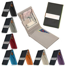 Mens Faux Leather Slim Wallet Money Clip Credit Card ID Holder Case Purse