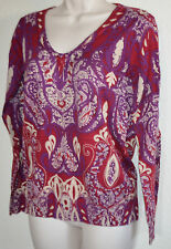 Ladies Jaclyn Smith Red & Purple Paisley V-Neck Knit Lightweight SWEATER Shirt