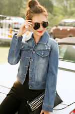 Hot Women's Hispter Embroidered Denim Coat New Short Long Sleeve   Jean Jacket