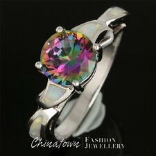 #7-10 8MM ROUND RAINBOW MYSTIC TOPAZ LAB WHITE FIRE OPAL SILVER SF JEWELRY RING