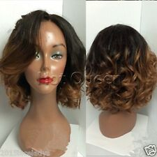 100% Brazilian Human Hair Short Wavy Ombre Color Full Lace Lace Front Wigs