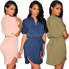 Womens Fashion Slim Chiffon Swing Skirt Short Sleeve Dress Beach Mini Dress NK8H