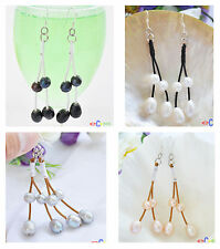 D0021 2line 12MM rice freshwater pearl coffee hide rope dangle EARRING