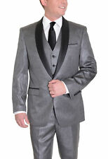 Gray Sharkskin Twill Three Piece Shawl Lapel One Button Tuxedo Suit