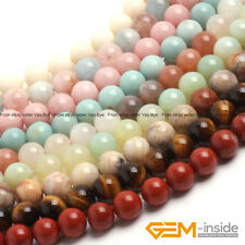 "Wholesale Lot Natural Assorted Stones Round Beads For Jewellery Making 15""Strand"
