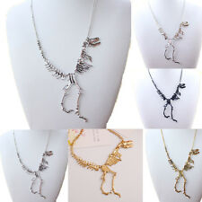 Unique Women Men Punk Retro Dinosaur Skeletons Metal Pendant Necklace Jewelry
