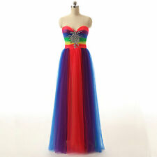 Multi Color A Line New Long Tulle Prom Dresses Strapless Party Prom Evening Gown
