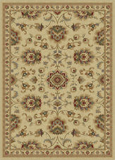 Ivory Traditional Oriental Bordered Area Rug Discs Circles Petals Vines Carpet