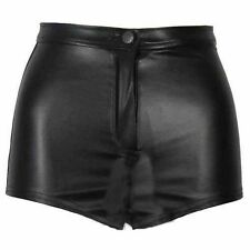 WOMENS WET LOOK DISCO SHINY PVC HIGH WAISTED SHORTS ZIP HOT PANTS SIZE 6,8,10,12