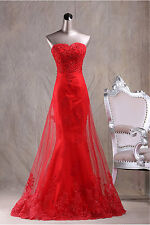 Strapless New Long Red Lace Mermaid Prom Dresses Formal Party Prom Evening Gown