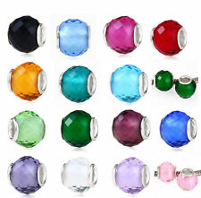 925 STERLING SILVER BIRTHSTONE FACETED CRYSTAL BEAD FITS EUROPEAN CHARM BRACELET