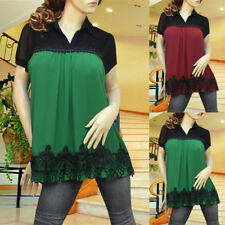 GREEN/BLACK PLEATED APPLIQUE LACE LAYER TUNIC TOP 1933 SIZE XL
