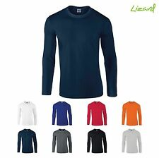 Mens Gildan softstyle long sleeve t shirt crew neck casual cotton top GD011