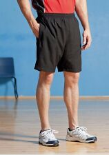 Mens Finden & Hales Microfibre Polyester Black or Navy Sports Shorts Zip Pockets