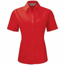 Womens Russell Collection Short Sleeve Pocket Polycotton Easycare Poplin Blouse