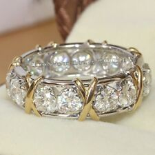 Lovers Diamonique CZ 10KT White&Yellow Gold Filled Eternity Wedding Ring Sz 5-11