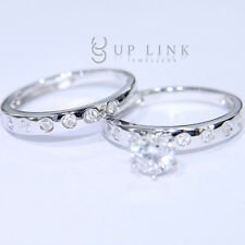 Couple Ring White Cubic Zirconia Engagement Two-in-One Sterling Silver Ring Set