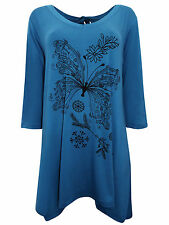 PLUS SIZE Ivans (INP) BUTTERFLY Print Stretch Jersey Tunic Top PETROL 16 - 30/32