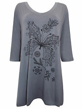 PLUS SIZE Ivans (INP) BUTTERFLY Print Stretch Jersey Tunic Top GREY 16 to 30/32