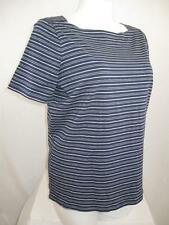 Talbots Woman Plus Size Short Sleeve Cotton Square-Neck Top in Navy/Gray Stripe