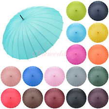 Manual Open Windproof Stick Rain Umbrella Parasol for Wedding Photo Decoration