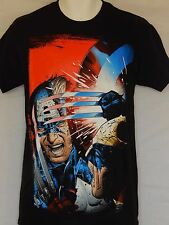 Captain America Wolverine Tee Shirt Mens Size Small Black Marvel Comics New