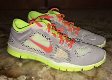 NIKE Free 5.0 TR Fit 4 Lt Grey Volt Orange Training Running Shoes NEW Womens 7.5
