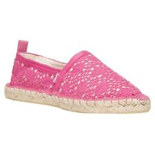 New Womens Superdry Pink Espadrille Textile Shoes Canvas Slip On