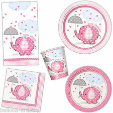 Girl's PINK ELEPHANT Baby Shower Party Plates Cups Napkins Tableware Listing