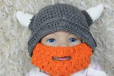 New Handmade Grey Vikings Hat Full Beard Hat Knit Crochet Hat Baby Hat Child Hat