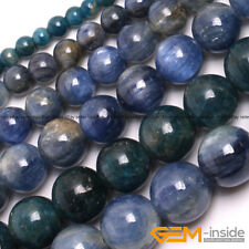 """Natural Stone Blue Kyanite Round Beads For Jewelry Making 15"""" 4mm 6mm 8mm 10mm"""
