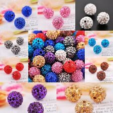 10Pcs Rhinestone Crystal Ball Disco Beads Spacer Findings Many Color 10mm