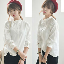 Women's White Fashion Solid Cotton Long Sleeve T-shirt Casual Blouse Tops Shirts