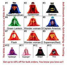 Superhero Mask Cape Superman Batman Spiderman Supergirl Batgirl Hulk kids