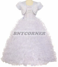 Flower Girl Ruffled Bead Pearl White Dress First Holy Communion Easter Size 6-16